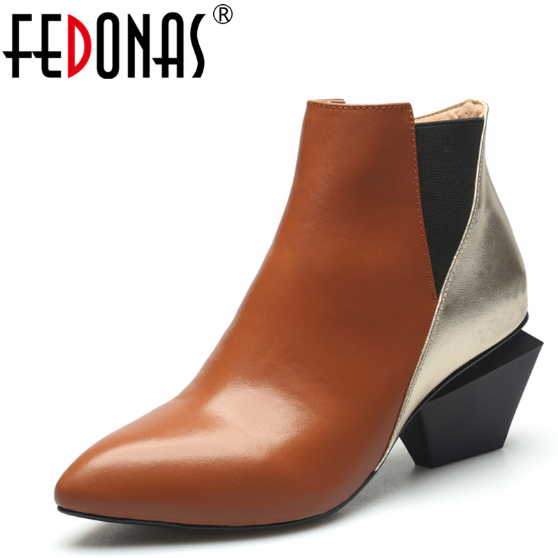 FEDONAS Genuine Leather Women Chelsea Boots Brand Autumn Winter Warm Short Ankle Boots Sexy Patckwork Single High Heeled Martin