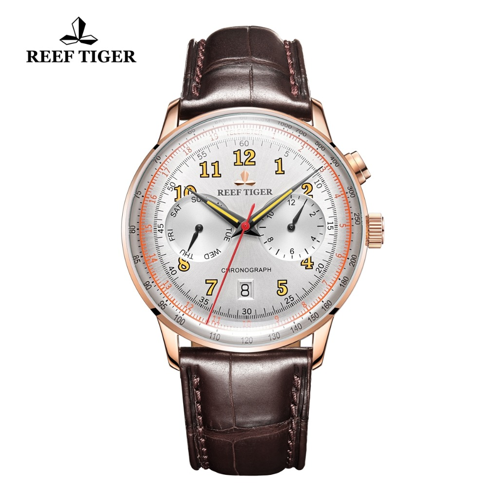 Reef Tiger/RT Luxury Brand Vintage Watches Date Waterproof Watches Rose Gold Automatic Watches Brown Leather Band RGA9122Reef Tiger/RT Luxury Brand Vintage Watches Date Waterproof Watches Rose Gold Automatic Watches Brown Leather Band RGA9122