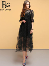 Baogarret New Fashion Designer Summer Dress Womens Lace Sequined Mesh Overlay Elegant Vintage Ladies Party Black Dresses