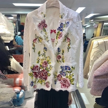 Women's Jackets Beautiful Flowers Embroidery White Lace Business Blazers 2018 High Fashion Office Lady Formal Style Suit Blazers