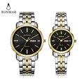 Парные часы  часы для влюбленных  золотые  серебряные  с календарем  сталь  бизнес  дата  неделя  дисплей  наручные часы  RONMAR  бренд 8008G