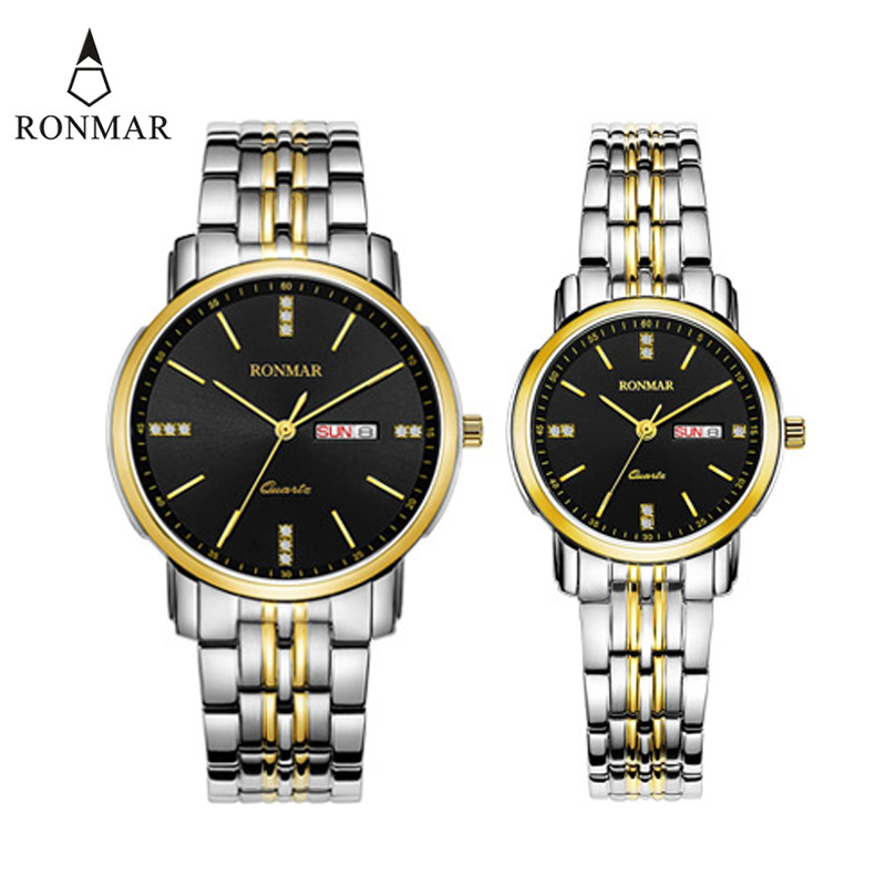 Couple Watch Lover's Watches Gold Silver With Calendar Steel Business Date Week Display Wristwatch RONMAR Brand  8008G