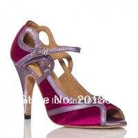 Girls Purple Satin LATIN Dancing Shoes Ballroom Shoes Sexy Salsa Dance Shoes