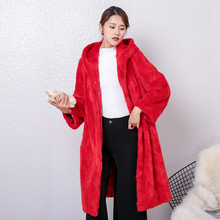2018 new women natural real pieces mink fur coat hooded jacket long