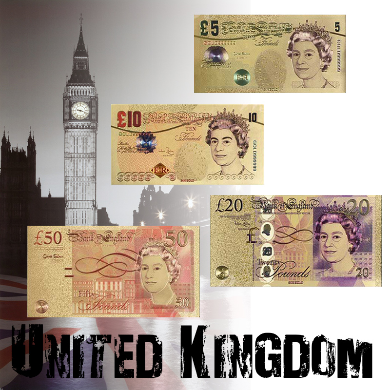 Full Set Of UK Colorful UNC Commemorative Gold Banknote  5.10.20.50 British Pound Money Paper Detector
