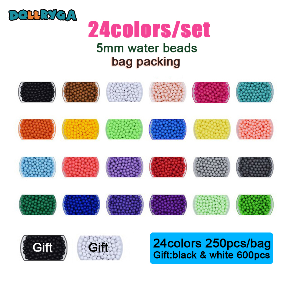 DOLLRYGA 24color 6600pcs/set Perler DIY Pegboard Sticky Water Beads Tool Accessories Aqua Jigsaw Puzzle Magic Water Bead Kid Toy(China)