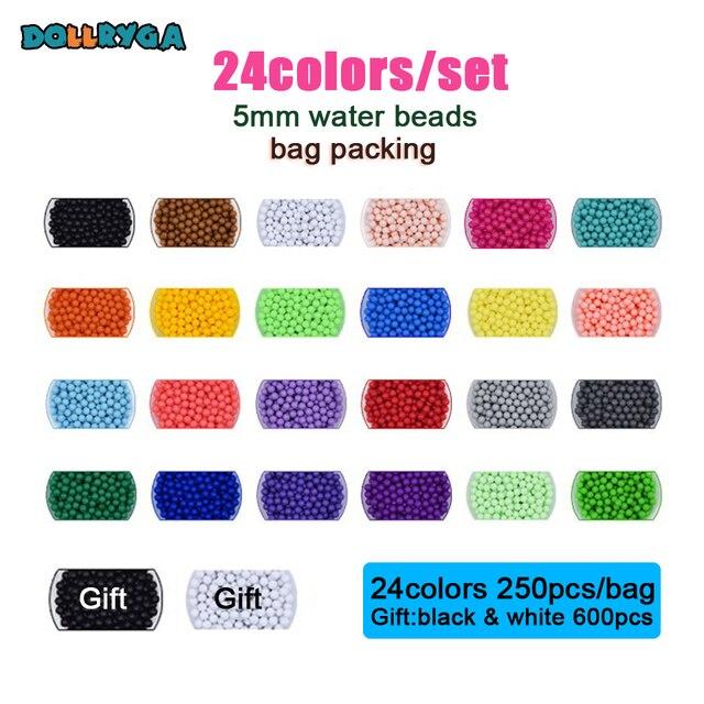 DOLLRYGA 24color 6600pcs/set Perler DIY Pegboard Sticky Water Beads Tool Accessories Aqua Jigsaw Puzzle Magic Water Bead Kid Toy