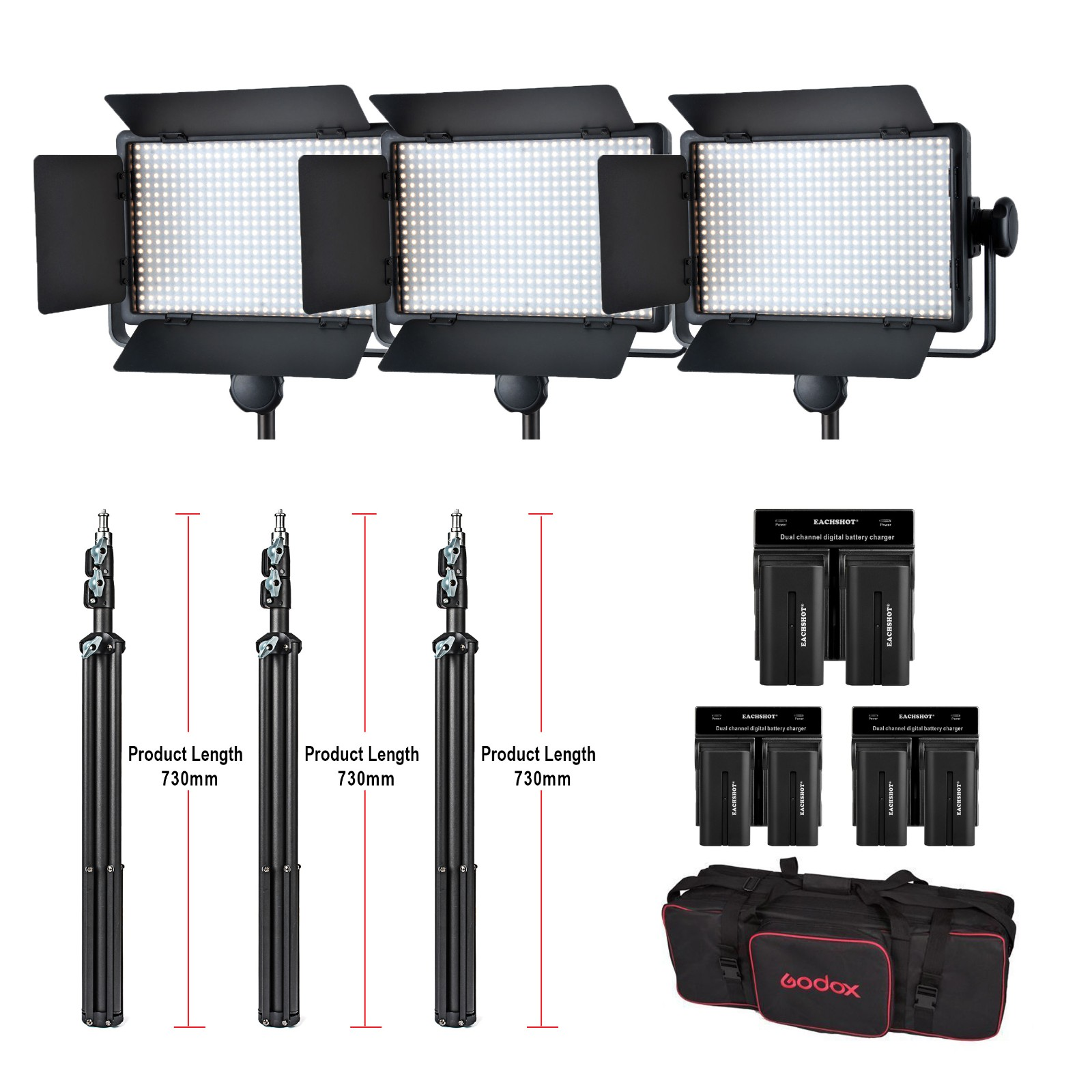 Godox 3pcs LED500W Kit 5600K 504 LED Video Light Panel Lamp & Tripods & battery & battery charger With carrying Bag Lighting godox led308c led video light panel 6600mah li ion battery usb charger kit