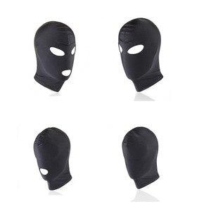 Image 4 - Erotyczne kaptur maska Sex zabawki Bondage fetysz kaptur maska dokręcić oddychające otwarte usta maski na oczy BDSM Cosplay Sex zabawki erotyczne nakrycia głowy
