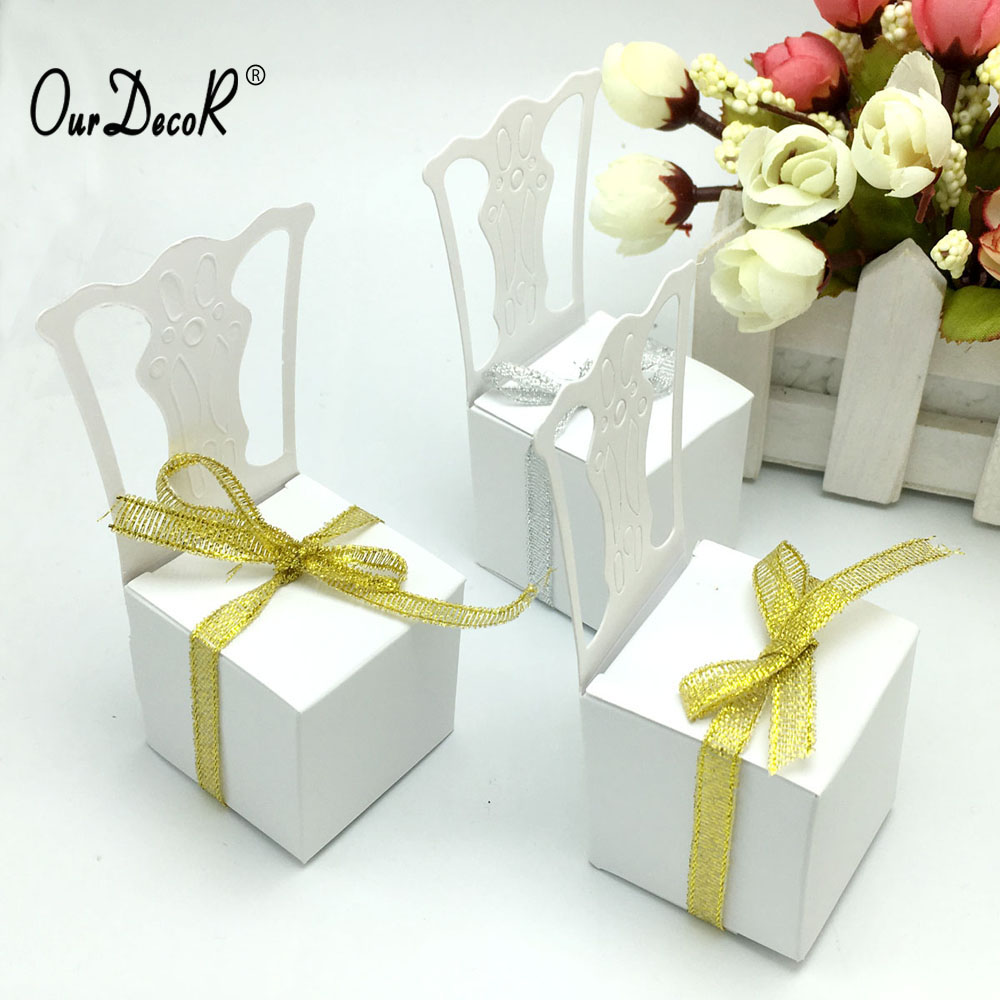 OurDecor 50Pieces Chair Shape Place Card Holder Wedding Candy Box Gift Favour Boxes Wedding Bonbonniere Event Party Supplies