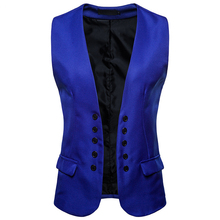 цена Fashion Royal Blue Suit Vest Men 2018 Brand New Double Breasted Dress Vest Waistcoat for Men Casual Sleeveless Cardigan Vests онлайн в 2017 году