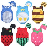 2 Pcs Babies Cartoon Print Romper Sleeveless Newborn Jumpsuit Infant Daily Outfit for Boys and Girls