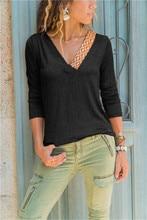цена на 2019 Autumn Colorful Striped Patchwork T-shirt Women V-neck Long Sleeve Elegant Tee Tops Slim Vintage Casual Office Lady Tee