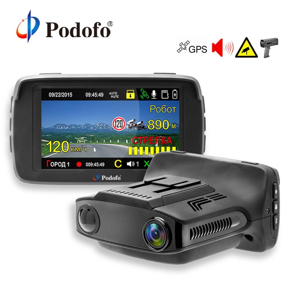Podofo 3 Em 1 Detectores de Radar Do Carro DVR GPS Logger Câmera Traço Cam Ambarella Detector de Radar para A Rússia A Laser 1080 p LDWS Secretário