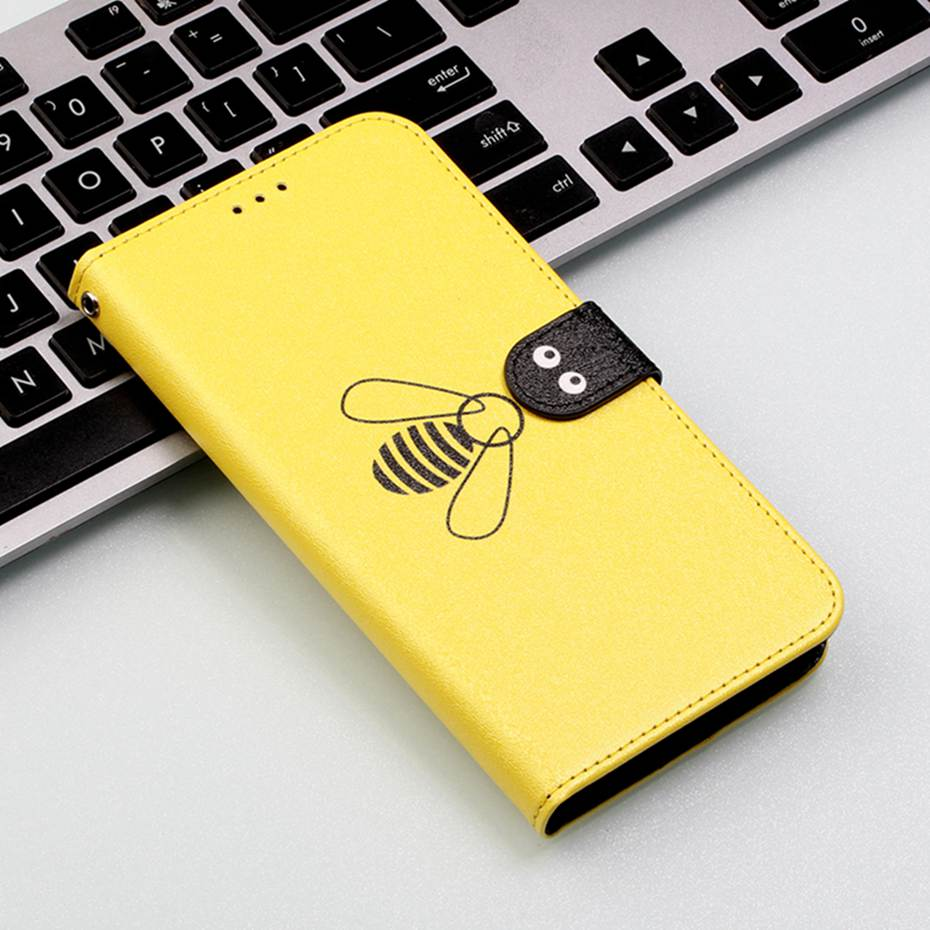 Cute Bee Leather <font><b>Flip</b></font> <font><b>Case</b></font> For <font><b>Samsung</b></font> <font><b>Galaxy</b></font> S10 S9 S8 S7 J4 J6 A5 <font><b>A6</b></font> A7 A8 <font><b>2018</b></font> Plus M10 M20 M30 A10 A20 A30 A40 A50 A70 <font><b>Case</b></font> image