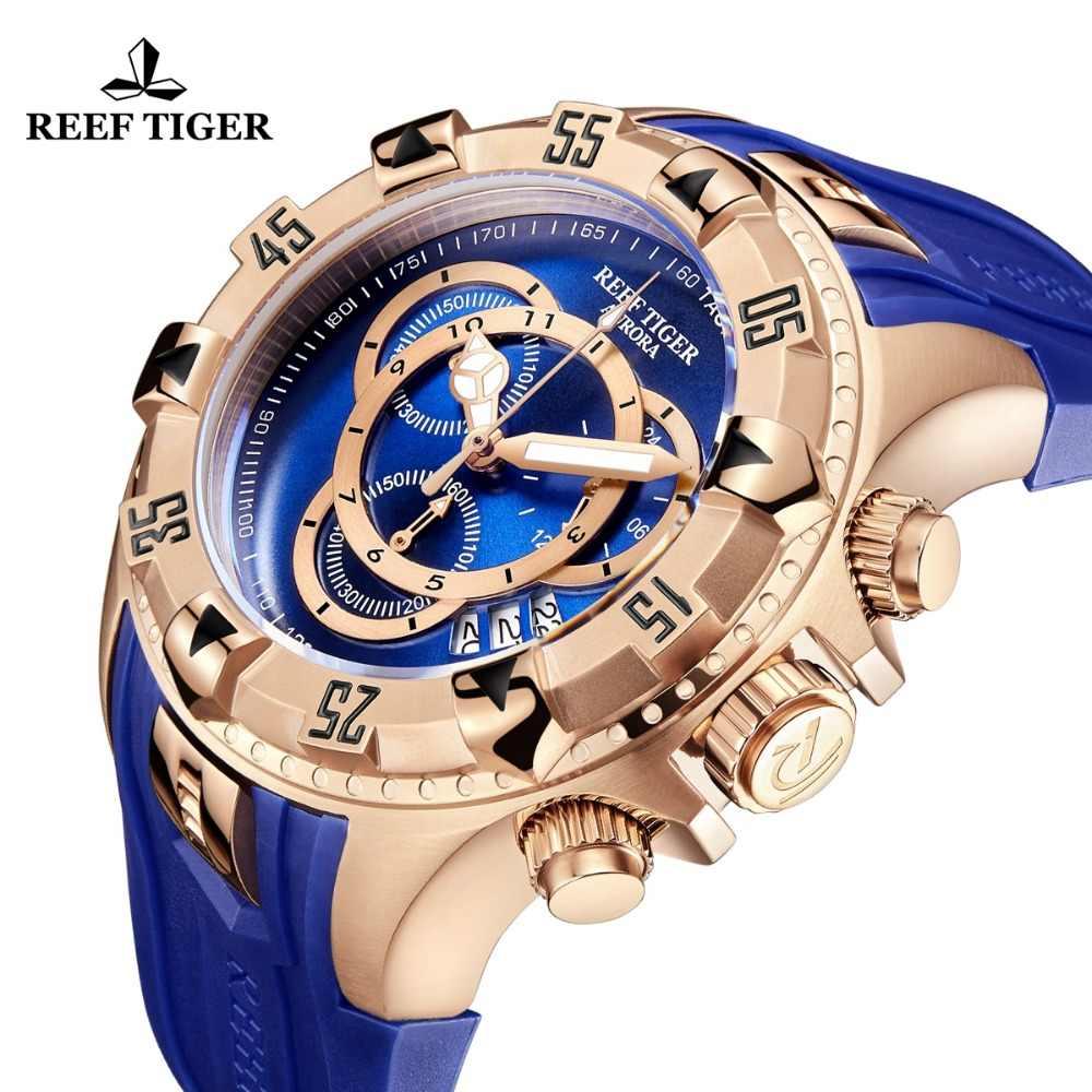 Reef Tiger/RT TOP ยี่ห้อ Luxury SPORT นาฬิกาผู้ชาย Rose Gold นาฬิกาสีฟ้าสายยางแฟชั่นนาฬิกา Reloj hombre RGA303-2
