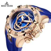 Reef Tiger/RT Top Brand Luxury Sport Watch for Men Rose Gold Blue Watch Rubber Strap Fashion Watches Reloj Hombre 2018 RGA303-2