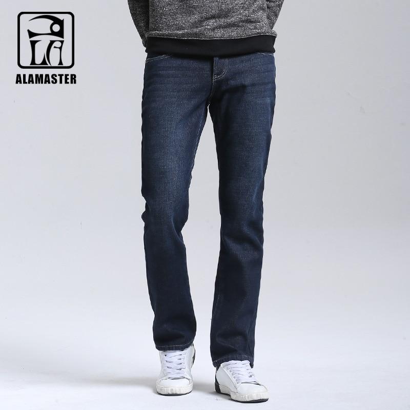 2017 Mens Winter Stretch Thick Velvet Jeans Long Warm Jeans Fleece Denim Jeans Mens Casual Straight Pants Solid Color 6172046