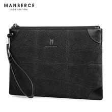 MANBERCE Men Large Capacity Envelope Clutch Bag Brand Mens Wallet Leather Genuine Cowhide Wallets Men's Purses And Handbags