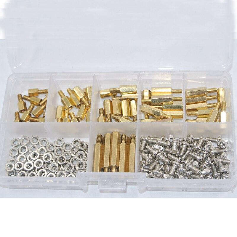 180 unids/set M3 * L + 6mm tuerca hexagonal espacio tornillo de latón roscado Pilar PCB placa separador Kit