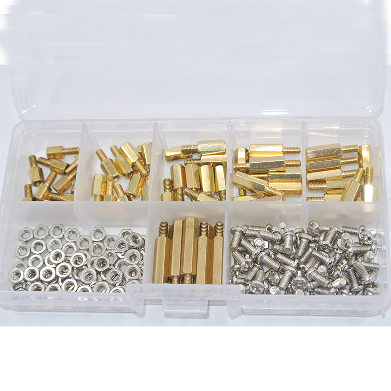 180Pcs/set M3*L+6mm Hex Nut Spacing Screw Brass Threaded Pillar PCB Motherboard Standoff Spacer Kit
