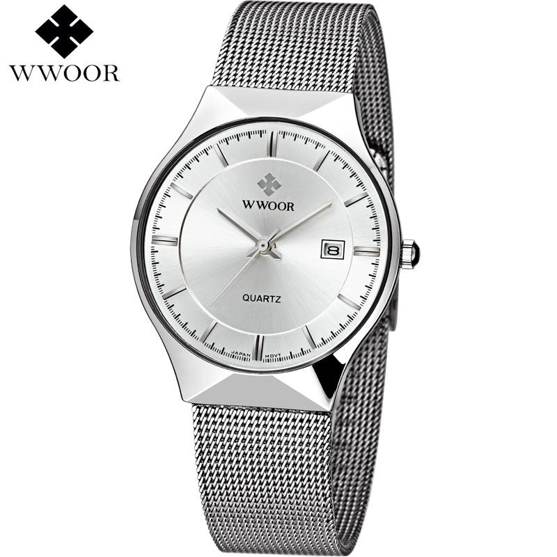 Prix pour Hommes Montres Top Marque De Luxe Date Ultra Mince Résistant À L'eau quartz montre hommes sport montre-bracelet mâle célèbre wwoor classique horloge