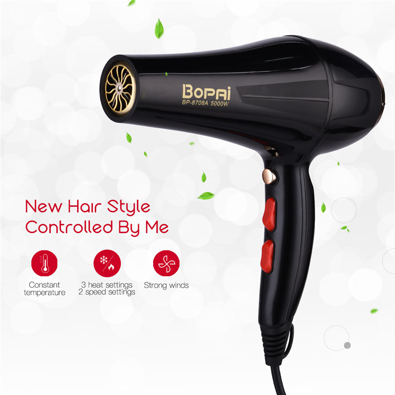 5000W Professional Negative Ionic Hair Dryer Hot Clod Wind Air Collecting Nozzle Hair Blower For Hair Salon Traveler Home Use 50