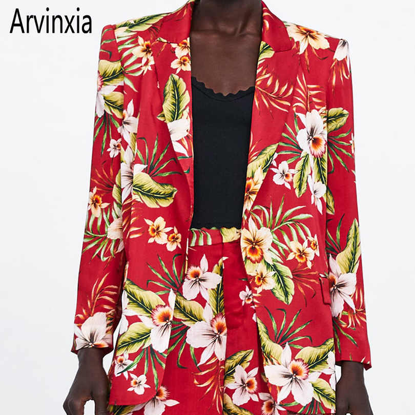 Arvinxia ZA Fashion Floral Notched Open Front Woman Blazers Sexy Flower Printed Ladies Outwear Casual Long Sleeve Pockets Suit