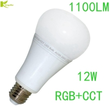 Kingoffer 12W Mi Light E27 Dimmable LED Bulb Light RGB + Warm White + White (RGB+CCT) AC85-265V Remote Wifi IBOX Controller