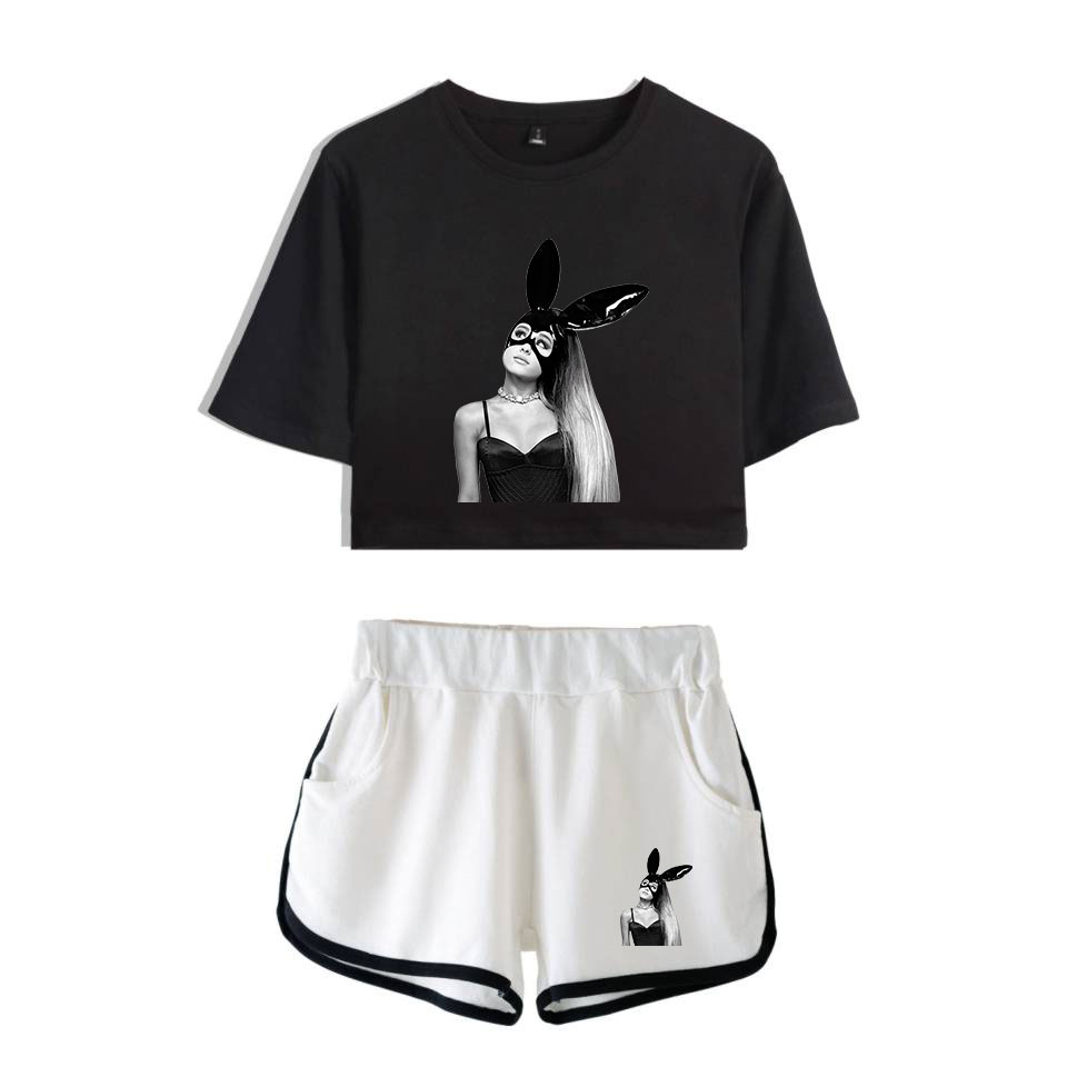 Ariana Grande Two Piece Sets Short Sleeve T-shirt And Shorts Women Fashion Summer Personality Casual Sexy Girls Sets