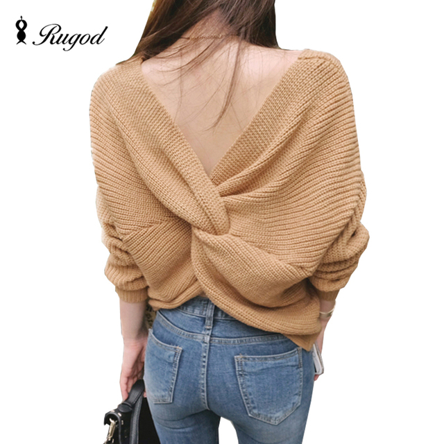 Rugod 2019 Sexy Backless Sweaters and pullovers Women Long Sleeve Jumpers Pull Femme V Neck Cross Back Women Sweaters kimono