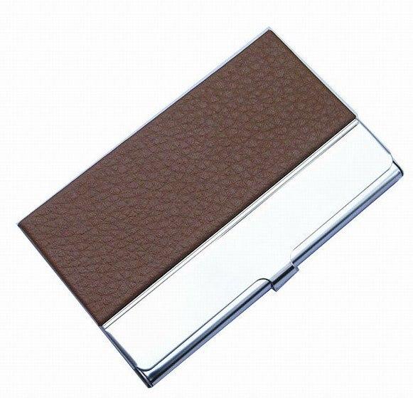 10 шт./партия из нержавеющей стали+ искусственная кожа бедж держатель для визиток, может сделать логотип NMS013 - Цвет: brown