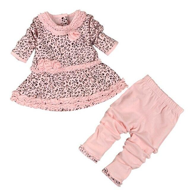 Новая весна девочка одежда комплект леопарда платье + леггинсы 2 шт. 100% хлопок Lovey розовый цвет одежда для новорожденных высокое качество 4 s / l