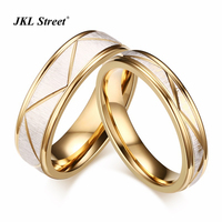 2pcs Lots Gold Color Wedding Bands Rings For Love Wire Drawing Stainless Steel Couple Ring Set
