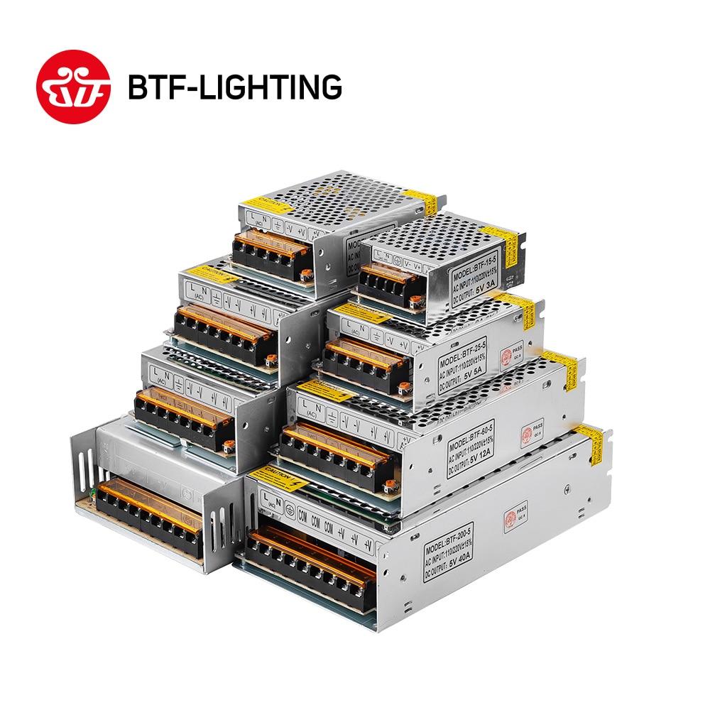 5 v 2A/3A/4A/5A/8A/10A/12A/20A/30A/ 40A/60A Interruttore di LED di Alimentazione Trasformatori di WS2812B WS2801 SK6812 SK9822 APA102 HA CONDOTTO La Striscia