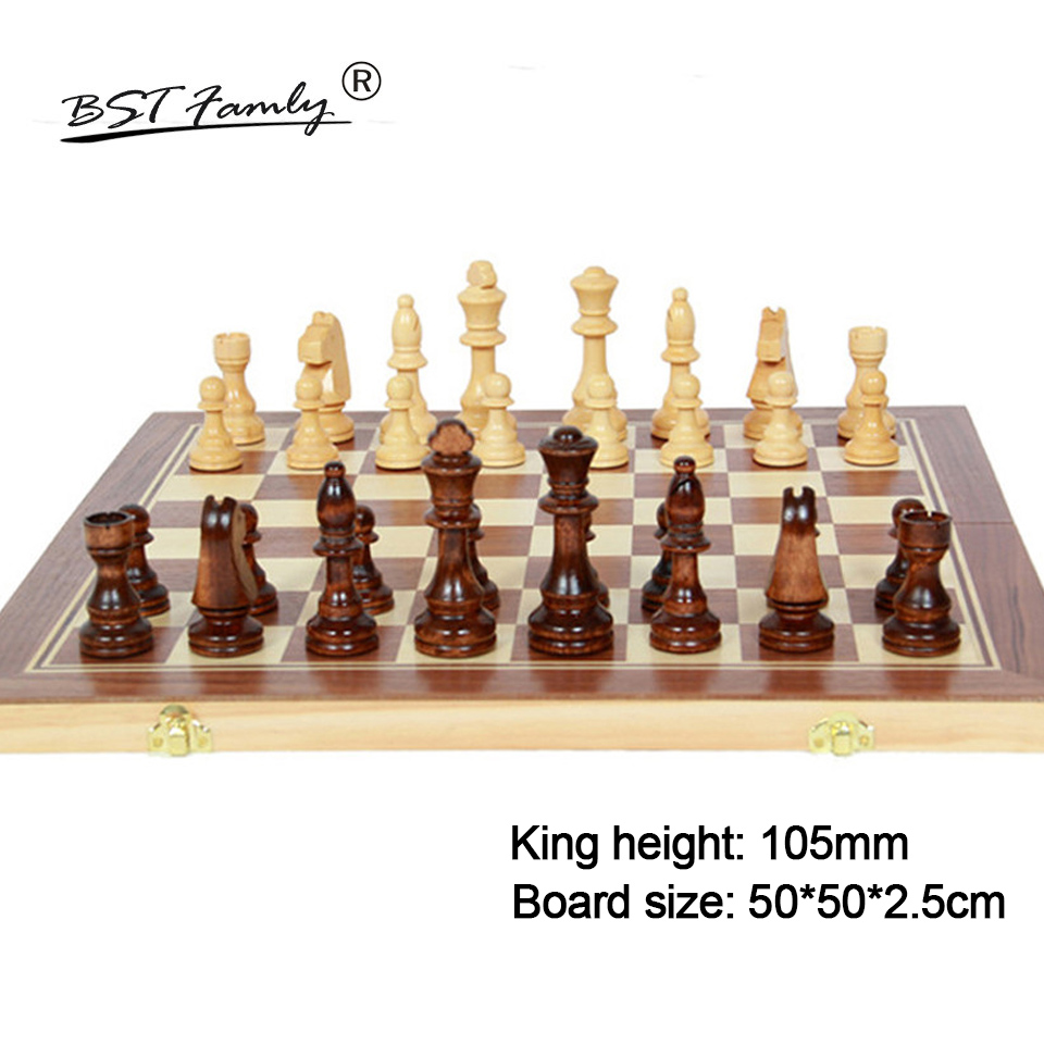 BSTFAMLY Wood Chess Set Game of International Chess Chessman Folding 50 50cm Chessboard Chess Pieces King