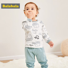Balabala Baby Girl Boy Two-Piece Cartoon Printed T-shirts Tops + Pull On Pants Trouser Infant Newborn Baby Winter Clothing Set(China)