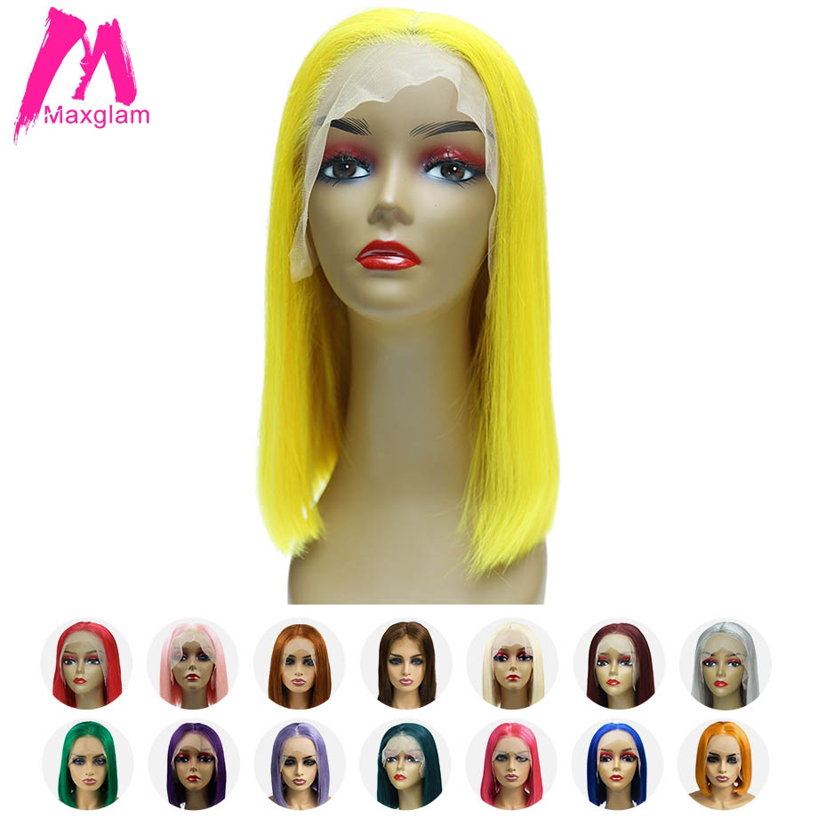 Maxglam Lace Front Human Hair Wigs Blonde 613 Short Bob Lace Front Wig Pink Blue Multiple