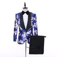 Flowers Suits Mens Fancy Printed Mens Suits With Pants Coat Latest Designs Flower Costume Homme Ternos Masculino Slim Fit XS 5XL