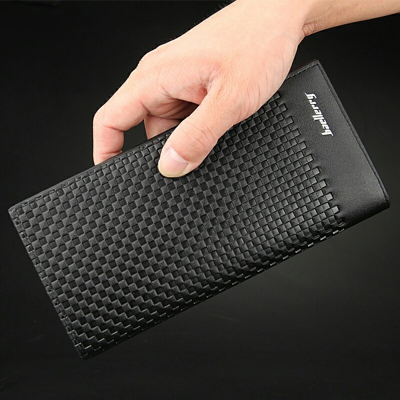 Fashion New Men's Wallet Black PU Leather Business Long Design Weaving Pattern Card Holder Clutch Purse Wallets Free Shipping casual weaving design card holder handbag hasp wallet for women