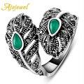 Ajojewel marca senhoras do vintage jóias anéis para as mulheres banhado a ouro branco folha verde (tamanho 7.8.9)