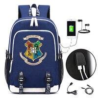New HARRI POTTER HOGWARTS BACKPACK USB Charge Interface Travel Bag Black Unisex Laptop Shoulder Bags Knapsack Bookbag