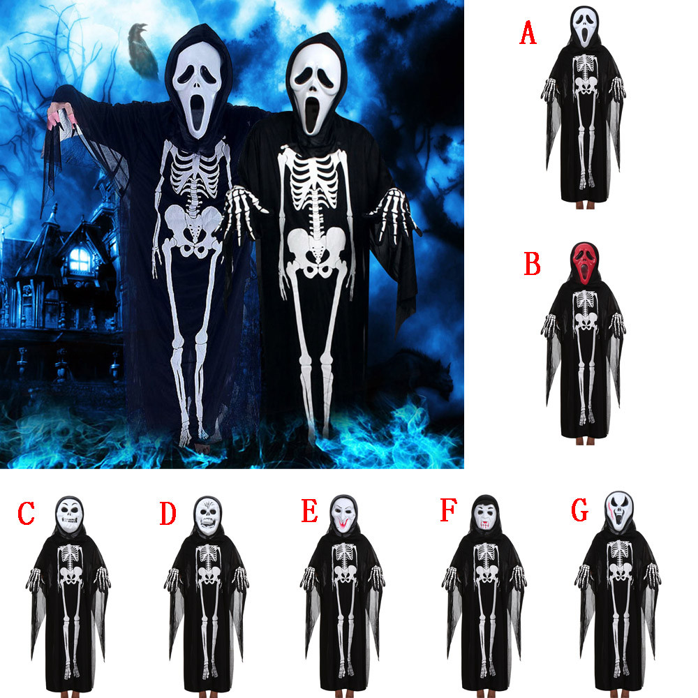 2018 Women Men Halloween Cosplay Costume Cloak+Mask+Gloves Family Outfits Set