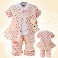 Anlencool 2017 Free shipping  children spring three-piece cotton lace rabbit baby clothing girls clothing set baby clothing