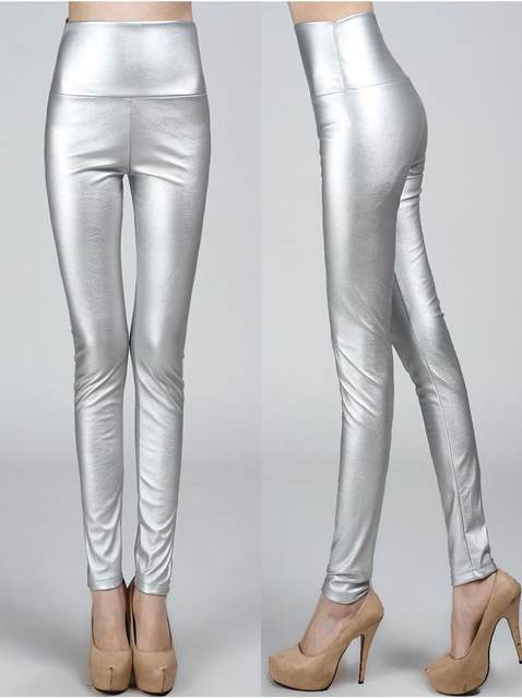 2019 Autumn winter Women legging skinny PU leather pencil Leggings slim faux Leather Pants female fashion thick fleece trousers 17
