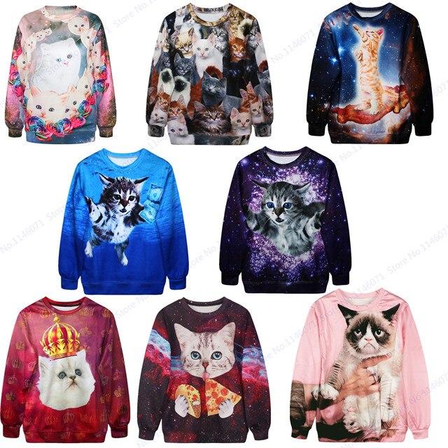 Kawaii Cat Hip Hop Sweatshirt Autumn Long Sleeve Training Exercise Sweaters  Cute Kitty Sport Suit Men Streetwear Tracksuit Coat
