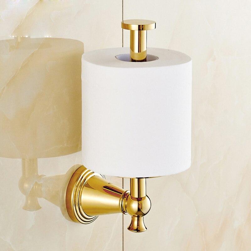 Wall Mounted Standing Toilet Roll Paper Holder Golden Bathroom Tissue Rack
