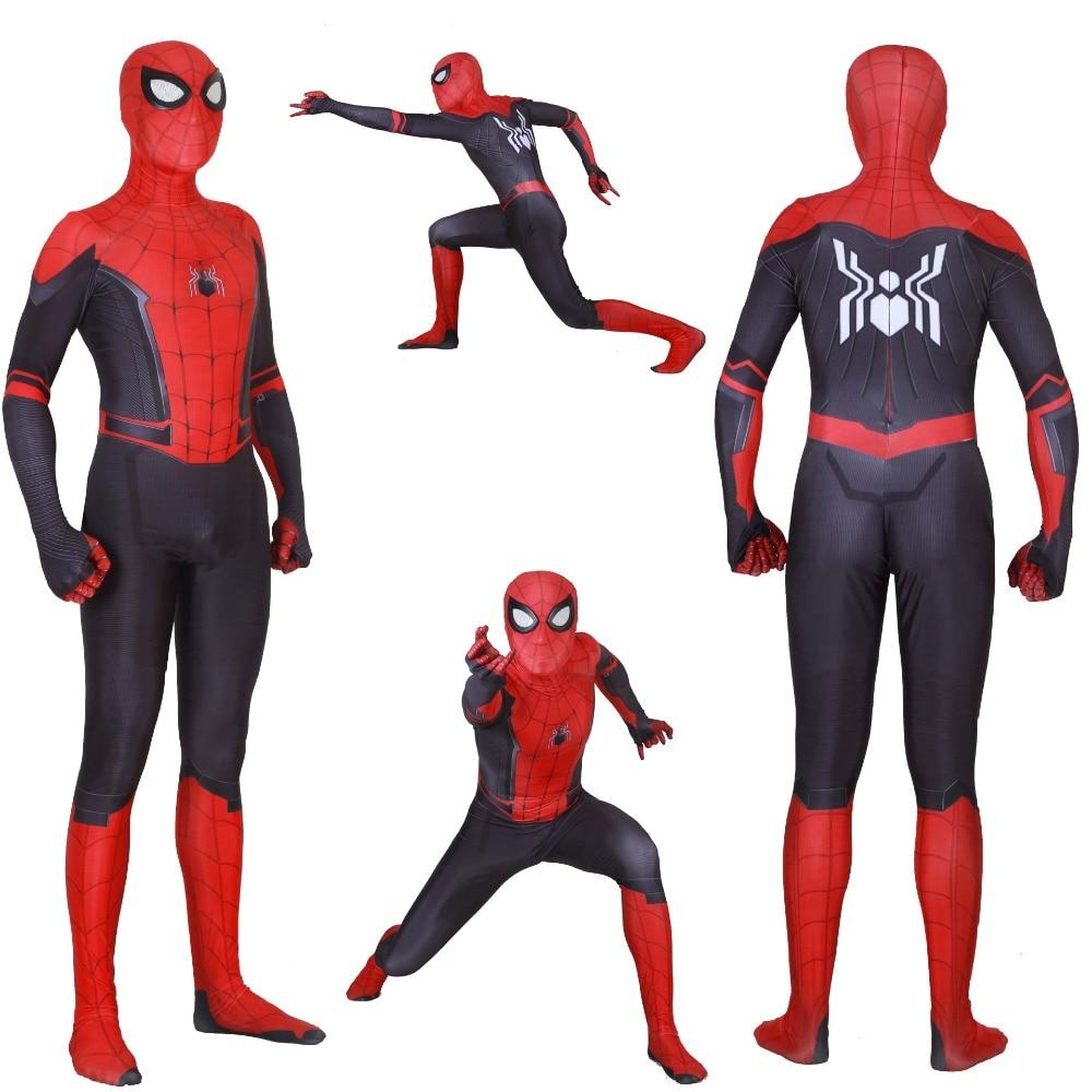 Взрослые дети Человек паук далеко от дома Питер Паркер костюм зентай для косплея супергероя паука Боди Комбинезоны