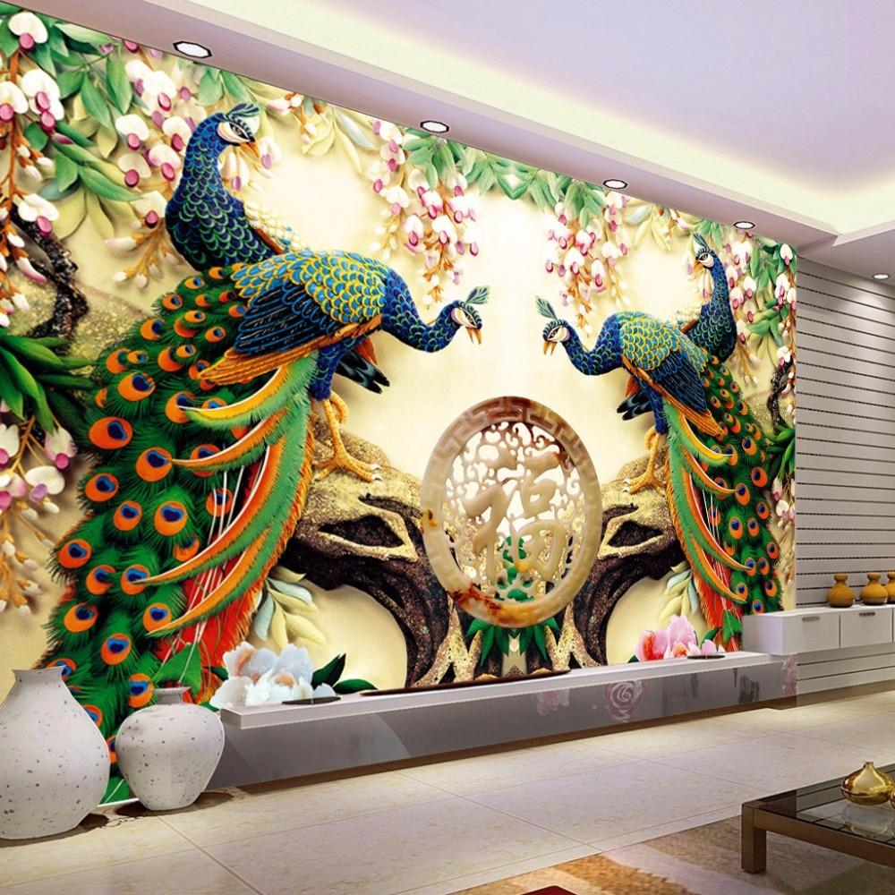 Custom 3d Wall Mural Wallpaper Woven Peacock Living