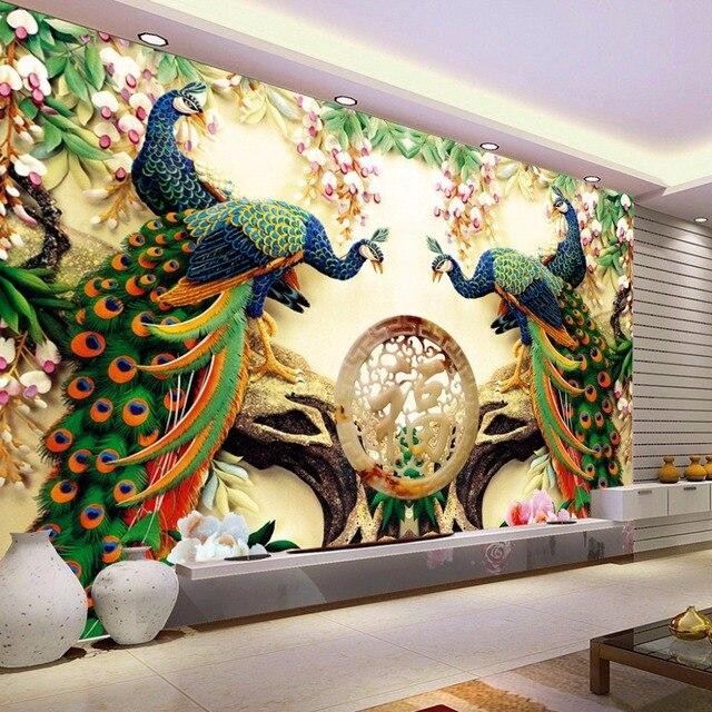 Custom 3D Wall Mural Wallpaper Non Woven Peacock Living Room TV Background Large